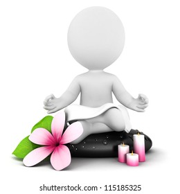 3d white people meditation, isolated white background, 3d image