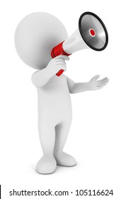 3d white people with a megaphone, isolated white background, 3d image
