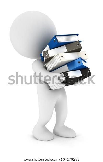 3D-Weiße Menschen überarbeitet mit vielen Dateien einzeln weißer Hintergrund, 3D-Bild