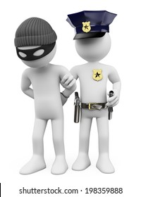 3d white people. Police arresting a thief. Isolated white background.