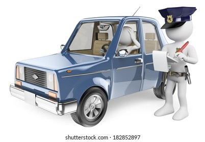 3d white people. Police imposing a fine on a driver. Isolated white background.