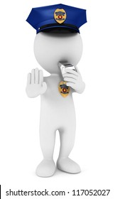 3d white people policeman stop sign with a whistle, isolated white background, 3d image
