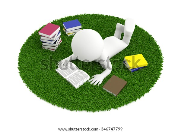 3d white people reading a book on the carpet, isolated white background, 3d image