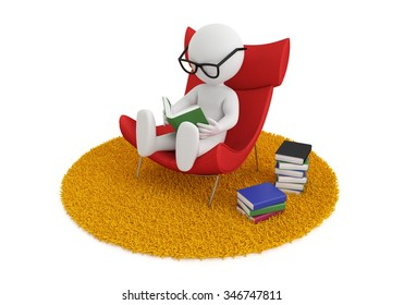 3d white people reads a book in chair, isolated white background, 3d image