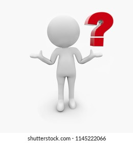 3d white people with red question mark, isolated white background,