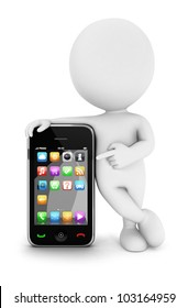3d white people with a smartphone, isolated white background, 3d image