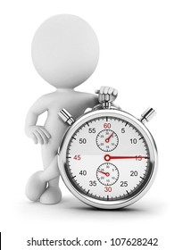 3d white people with a stopwatch, isolated white background, 3d image