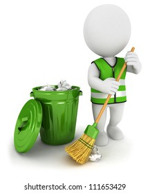 3d white people street sweeper and a trash can, isolated white background, 3d image