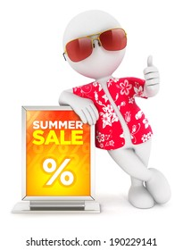 3d white people summer sale, isolated white background, 3d image