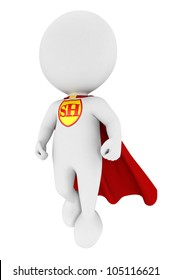 3d white people superhero with a red cape, isolated white background, 3d image