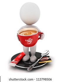 3d white people takes a coffee break, isolated white background, 3d image