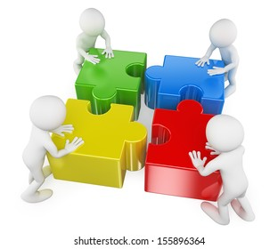 3d white people. Teamwork joining puzzle pieces to solve a problem. Isolated white background.