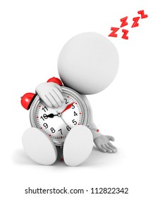 3d white people tired with a alarm clock, isolated white background, 3d image