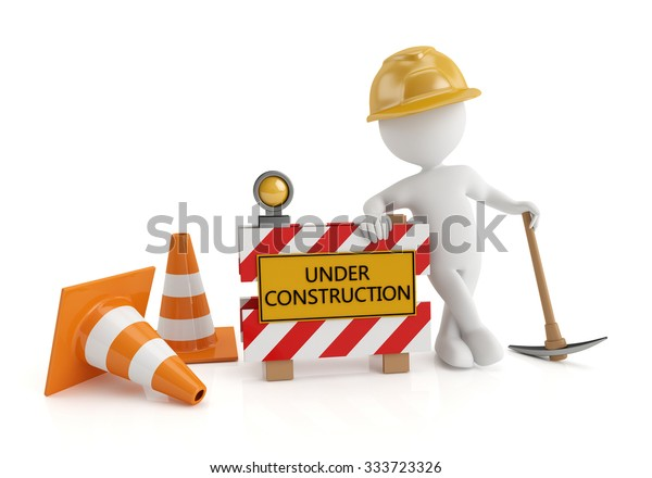 3d white people under construction, isolated white background. 3d image
