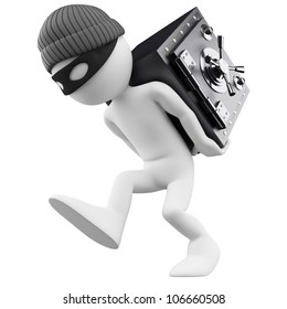 3d white person. Bank robber with a safe on his back. 3d image. Isolated white background.