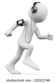 3d white person jogging with a mobile phone with gps and mp3 on the arm. 3d image. Isolated white background.
