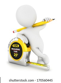 3d white person with a measuring tape, isolated white background, 3d image