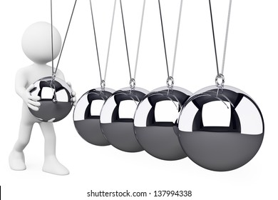3d white person playing with metal balls. Isolated white background.