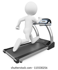 3d white person running on a treadmill. 3d image. Isolated white background.