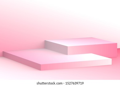 3d white pink cubes gradient colors in soft pastel minimal studio background. Abstract 3d geometric shape object illustration render. Display for summer holiday product.