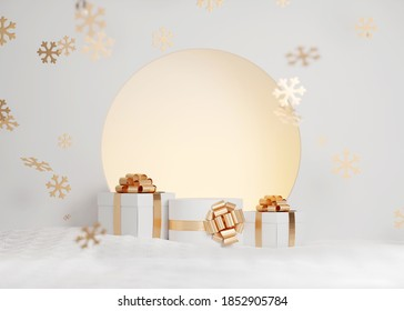 3D White podium,  Christmas background. Display stand with gold gift box. Beauty, cosmetic product presentation. Minimal pedestal showcase with snow and snowflakes. Abstract, winter, snowy  3D render