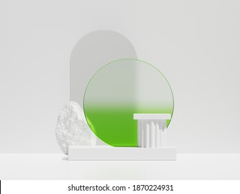 3D white podium display background for product presentation. Pedestal, pillar platform with round neon green glass frame  and rock. White stone with arc copy space. Abstract 3d render advertisement
