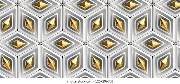 3D white rhombuses with white and gold decor elements. Christmas ornament. High quality seamless realistic texture.