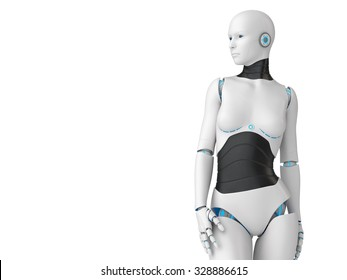 3d white robot girl isolated on white background