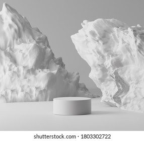 3D white rock pedestal display with gray background. Nature grey stone podium for beauty cosmetics product promotion. Minimal, abstract showcase stage, template mockup. 3D render illustration .