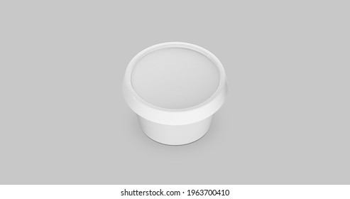 3D white round container for cream, butter, melted cheese or margarine spread. Perspective view isolated on gray background. Packaging mockup image.