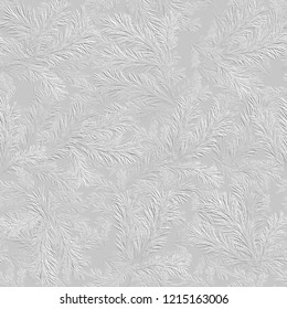 3d white seamless pattern with spruce branches, Christmas background