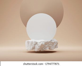3D white stone podium display. Nude, round beige background. Cosmetics, beauty product promotion mockup.  Natural rough grey rock. Flying pedestal. Abstract minimal banner, 3D render illustration.