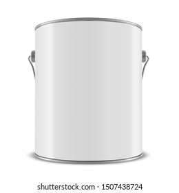 3d white tub, paint bucket container with metal handle, 3d illustration