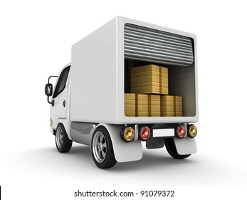 3D White Van with cardboard boxes isolated
