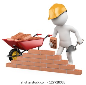 3d white worker building a brick wall. 3d image. Isolated white background.