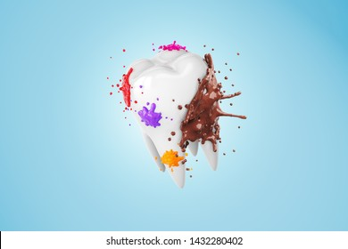 3d white yellow Tooth plague dirty stained liquid explode splatter blood fruit juices coffee chocolate strawberry bubble gum orange. Isolated with clipping path. 3D Illustration.