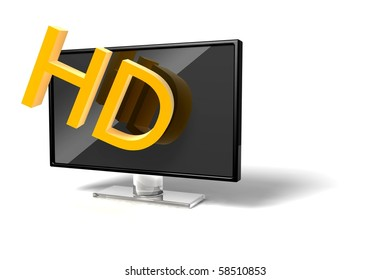 3D wide screen modern High-definition TV icon on white background