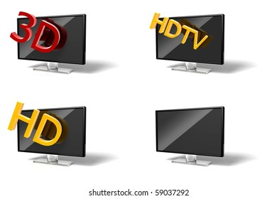 3D wide screen modern High-definition TV on white background collection