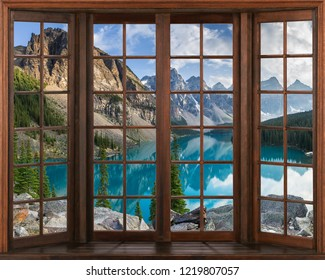 3d window view. Beautiful view of nature from the window.