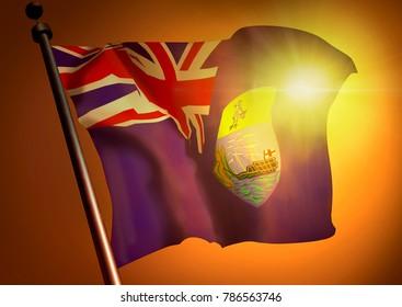 3d winner waving St.Helena flag against the sunset