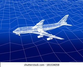 3D wireframe of airplane flies over a sea