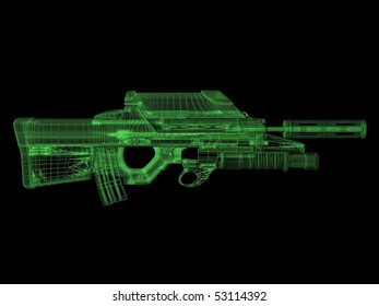 3d wireframe of assault rifle