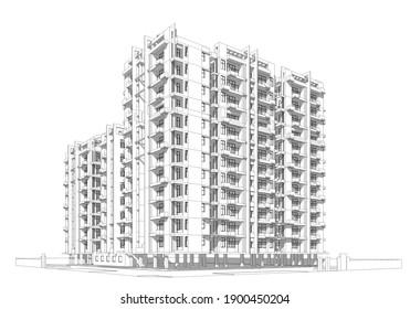 3d wireframe of building. sketch design.