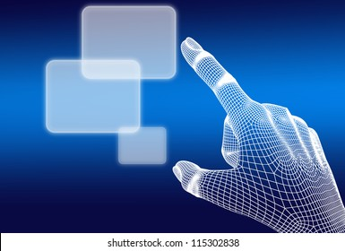 3d wireframe hand push button on blue background