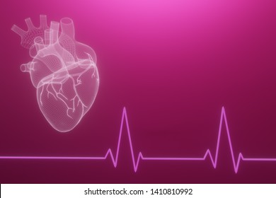 3D wireframe hearts render isolated white backgrounds, Abstract Heart icon form lines and triangles, point connecting network on blue background