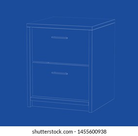 3d wire-frame model of nightstand. 3D illustration