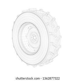 3D wire-frame model of tractor wheel on white background. 3D illustration