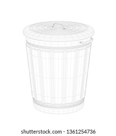 3D wire-frame model of trash can on white background. 3D illustration