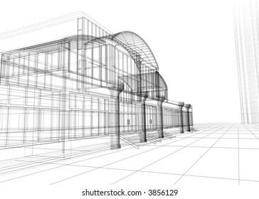 3D wire-frame of office building. Concept - modern architecture, designing.