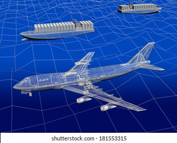 3D wireframe of trnspotation ,airplane with ocean liner